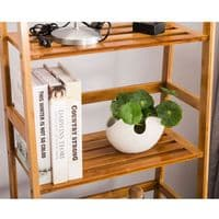 Light Bamboo Marco Four Tier Ladder Style Display Storage Shelving Unit